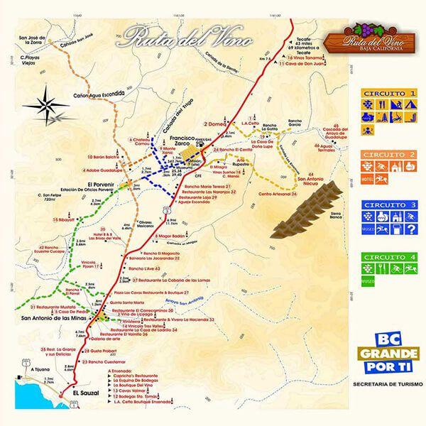 mapa de la ruta del vino ensenada